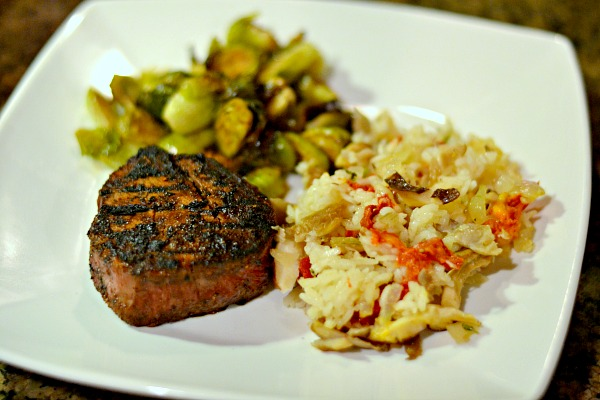Grilled filet with baked risotto and roasted brussels sprouts