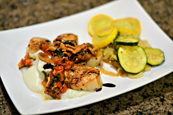 Seared Scallops over cauliflower puree
