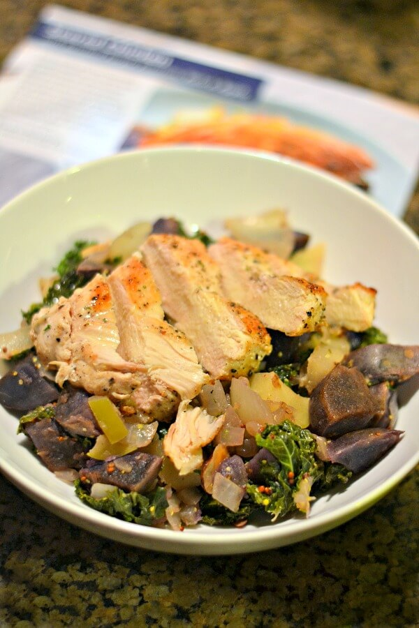 Blue Apron Chicken with Purple Potatoes, Kale and Apples