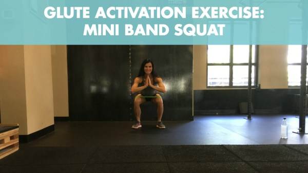 Mini band air squat for glute activation