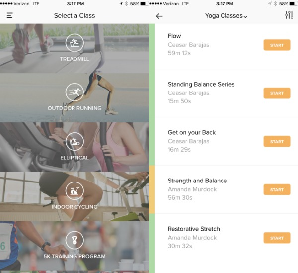 Aaptiv App Workout Options