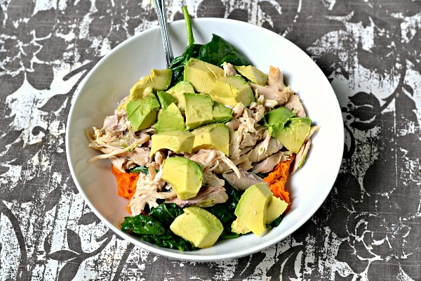 Sweet potato, chicken and avocado