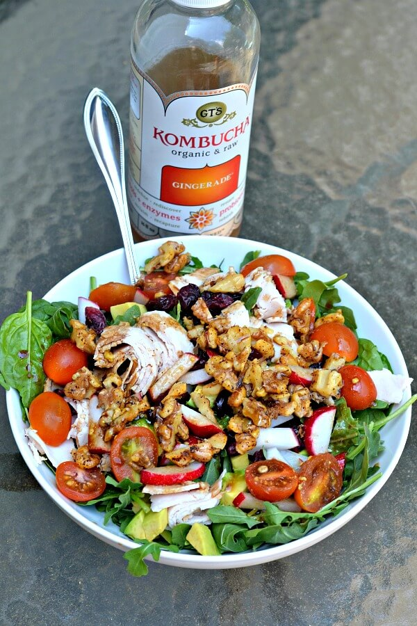 Salad with veggies, turkey and toasted almonds