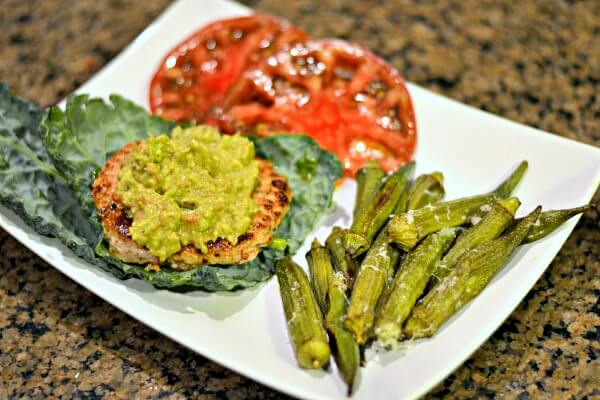 Turkey burgers in kale wraps with roasted okra