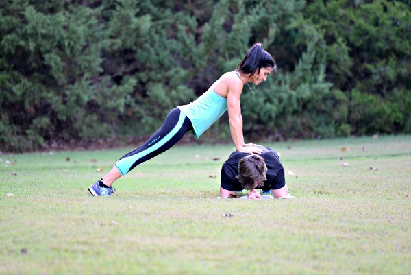 Partner Exercise Plank Push Up Combo