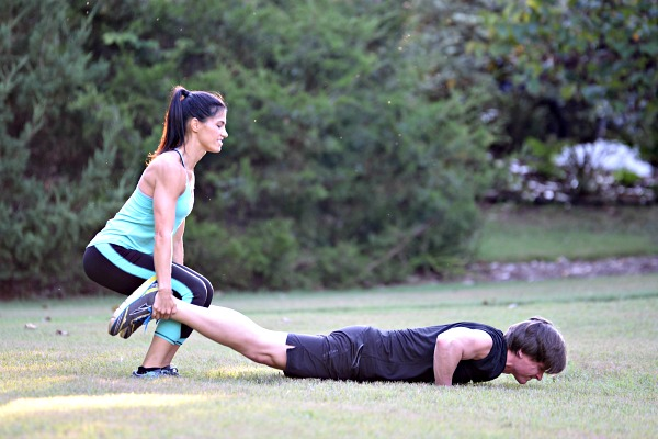 Partner Wheel Barrow Squat and Push Up Combo