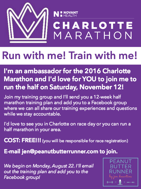 12-week online training group for the Charlotte Half Marathon