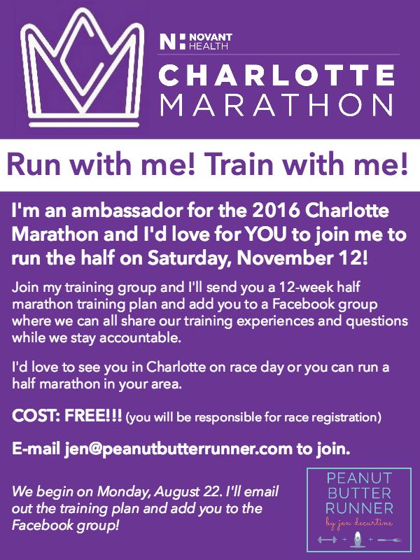 12-week online training group for the Charlotte Half Marathon