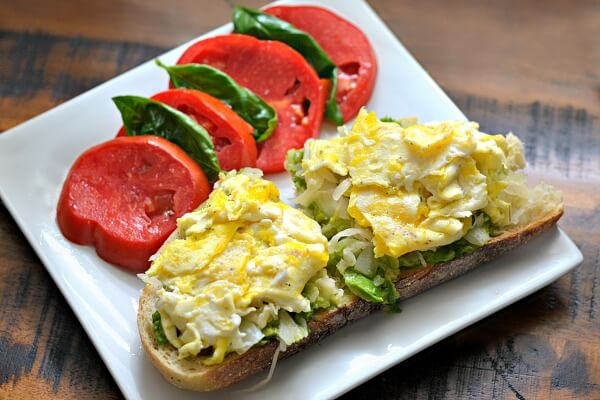 Avocado, sauerkraut and scrambled egg toast
