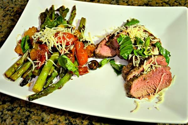 Grilled Lamb with Pan Roasted Asparagus, Olives and Tomatoes