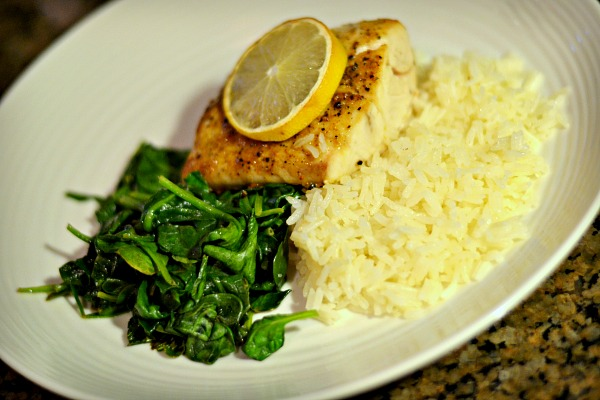 Broiled mahi with jasmine rice and sauteed spinach.