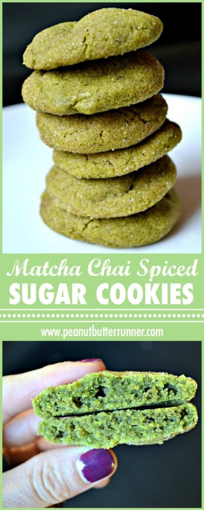 Matcha Chai Spiced Sugar Cookies! Soft and chewy chai spiced sugar cookies with matcha powder.