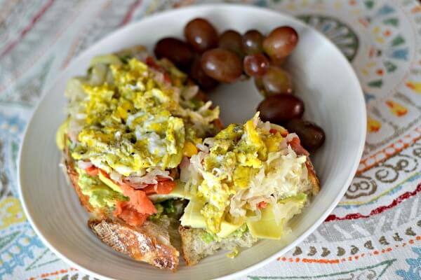 Egg and Avocado Toast with Sauerkraut and Smoked Salmon