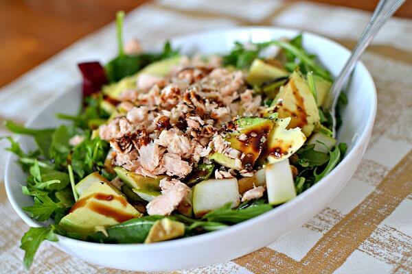 Whole30 Salad with Salmon, Pears, Pistachios and Avocado
