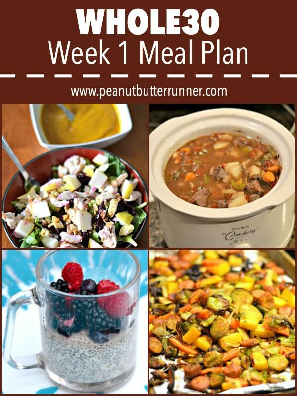 My meal plan for week one of Whole30.