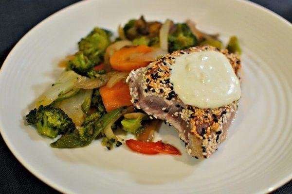 Seared sesame tuna with wasabi aioli