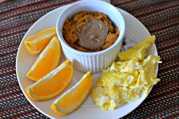 sweet potato breakfast bowl with scrambled eggs