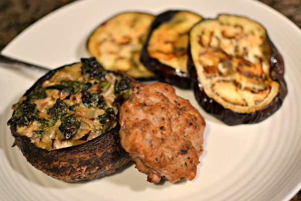 Leftover turkey burgers, spinach and artichoke stuffed portobellos and roasted eggplant.