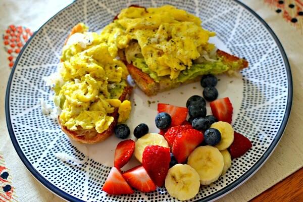 Avocado, Sauerkraut and Scrambled Egg Sourdough Toast