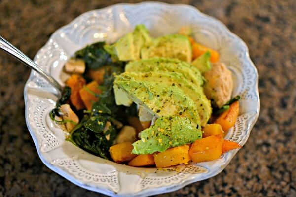 Sauteed butternut squash, chicken tenders, baby kale and avocado.
