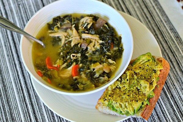 Lemony Kale and Chicken Soup with Avocado Toast
