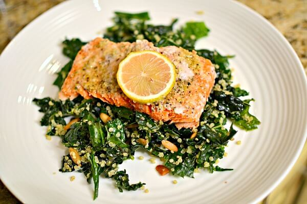 kale salad with baked lemon parmesan salmon