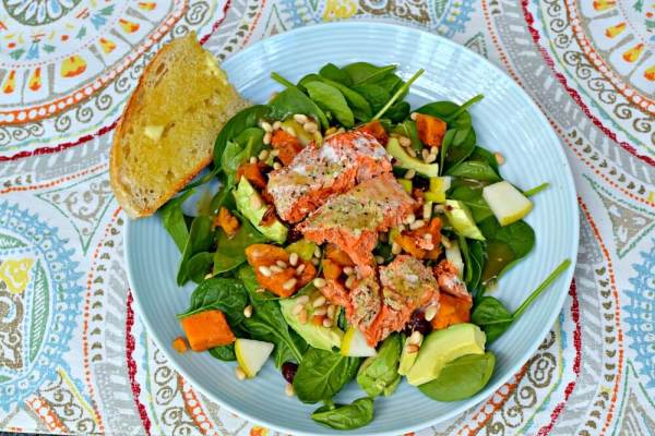 salad with baby spinach, pears, avocado, butternut squash, pine nuts, dried cranberries and leftover salmon