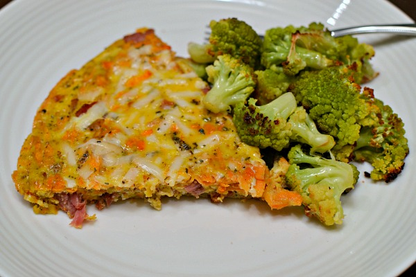 ham, sweet potato and cheese fritatta
