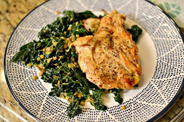 blue apron seared chicken with lentils