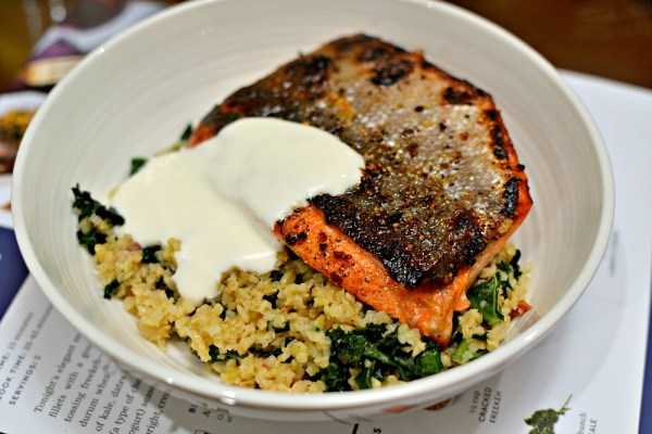 Blue Apron seared salmon with lemon labneh over freekah with kale and dates