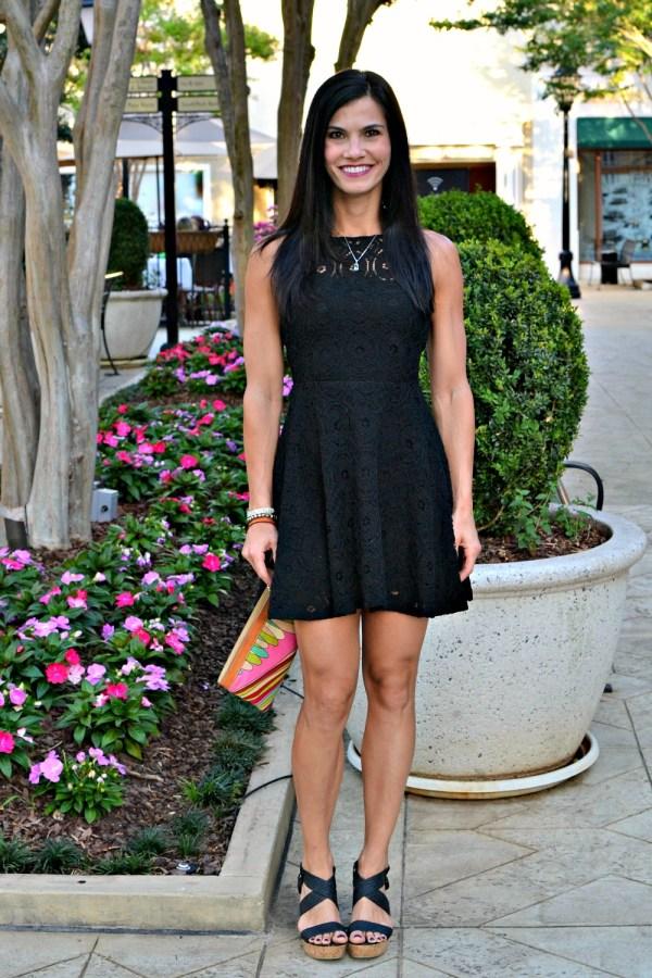 black lace party dress