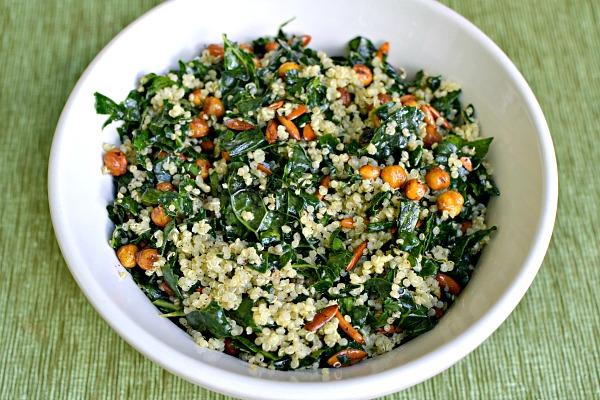 kale, quinoa and roasted chick pea salad