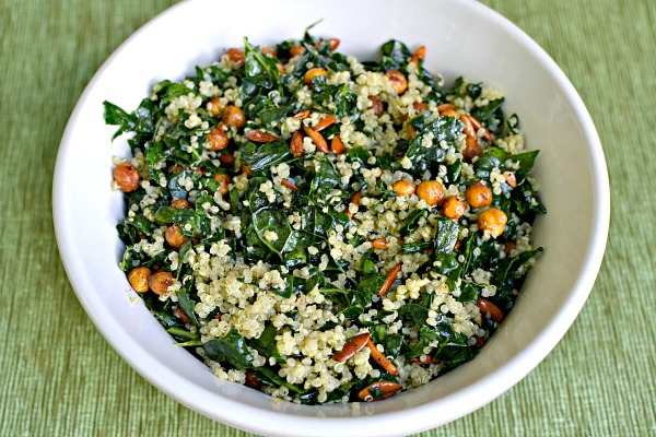 kale, quinoa and roasted chick pea salad