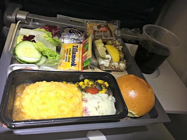 delta dinner international flight