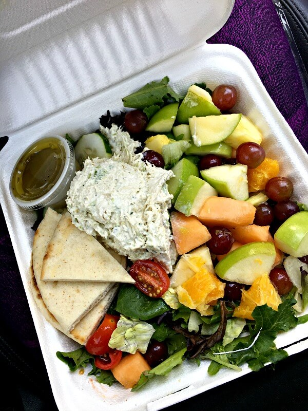 zoes chicken salad and fruit plate