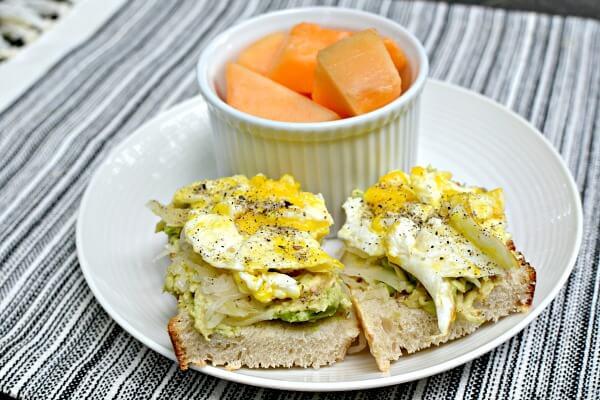 mashed avocado, sauerkraut and scrambled egg toast