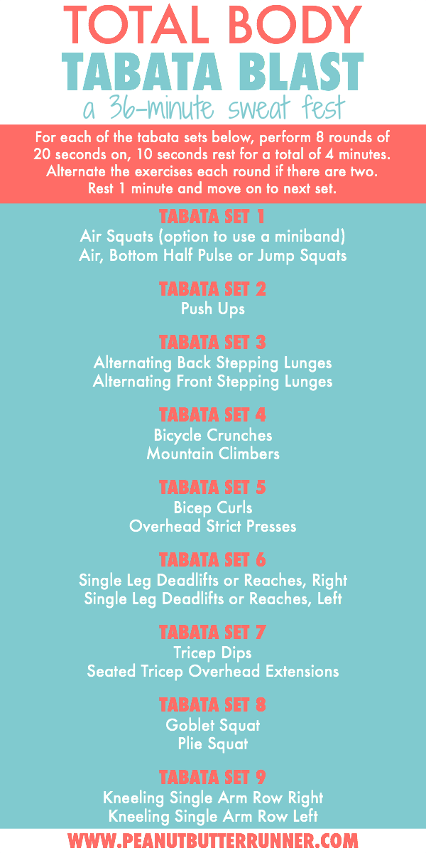 Total body tabata blast workout...a 36-minute sweat fest combining cardio and strength. #tabataworkout #hiit #hiitworkout #workout