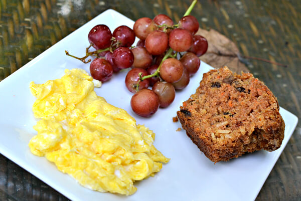 Two eggs, grapes and half of a morning glory muffin from Sunflour.