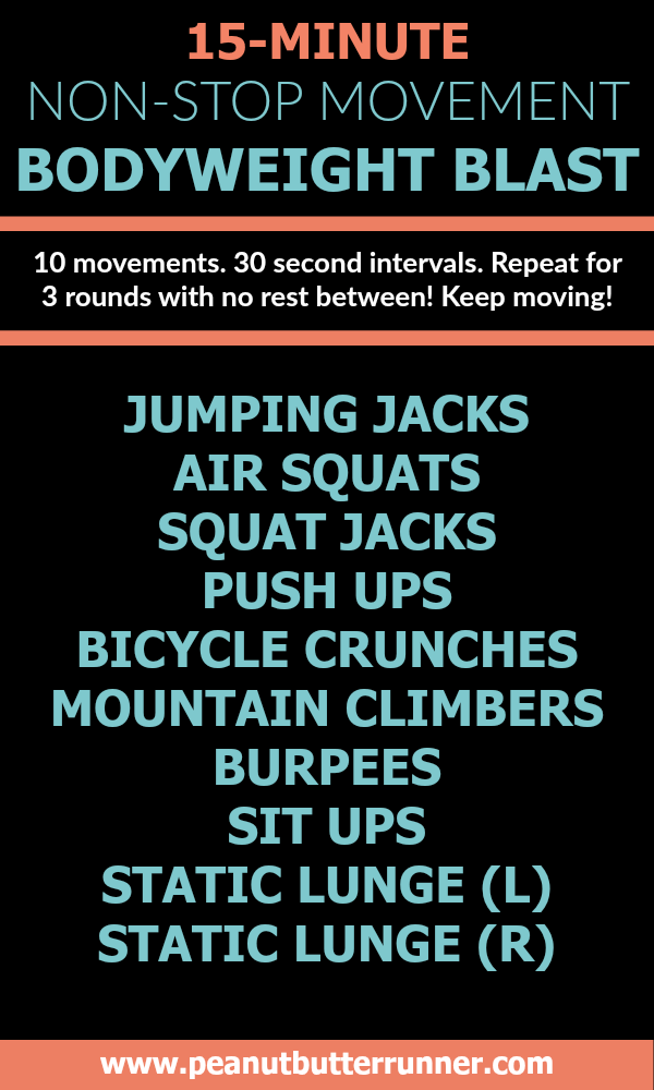 15 Minute Non Stop Movement Bodyweight Blast Workout