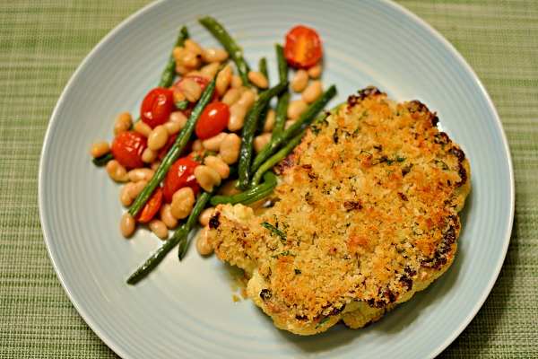 herb-crusted cauliflower steaks