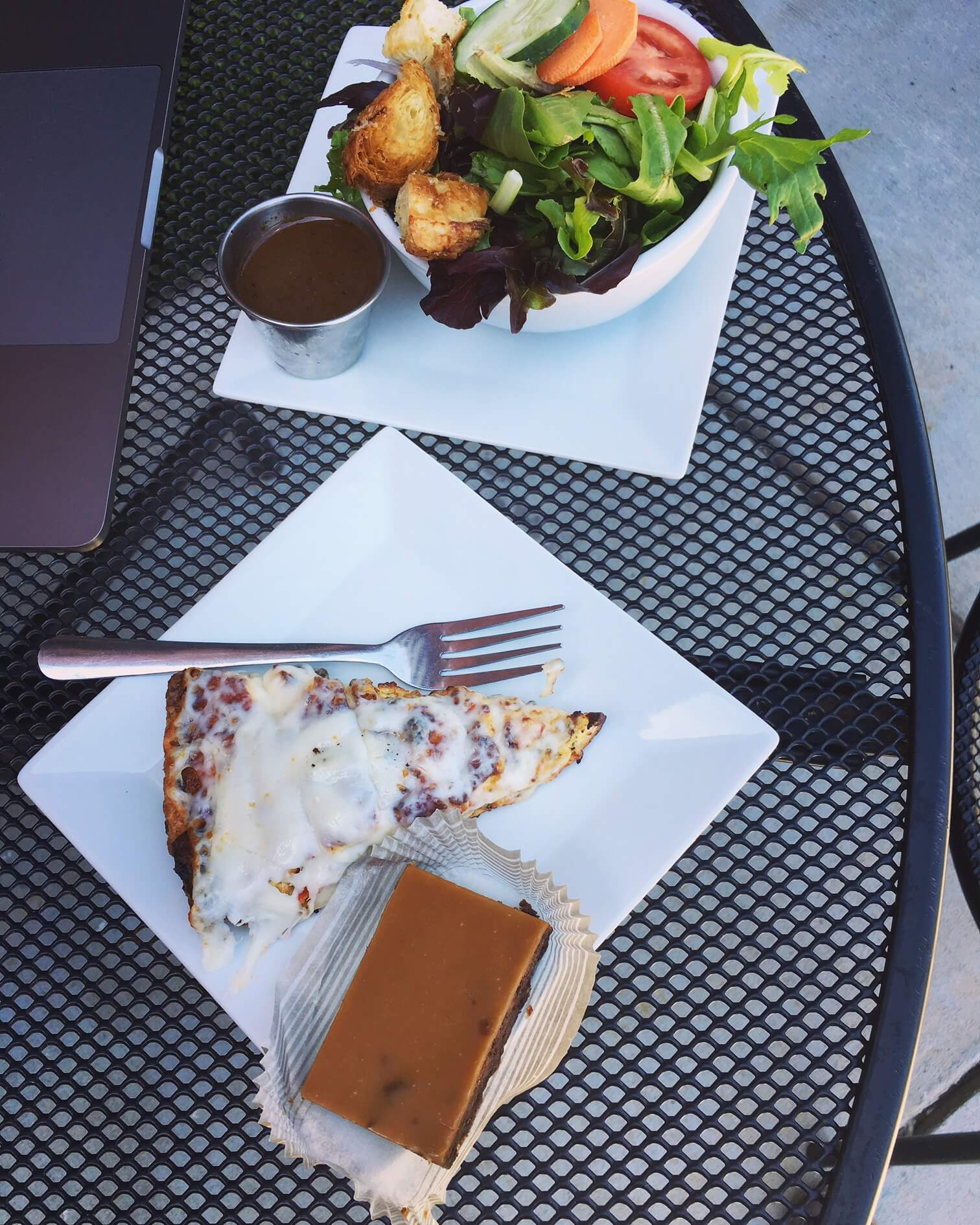 Quiche, a side salad and a salted caramel brownie.