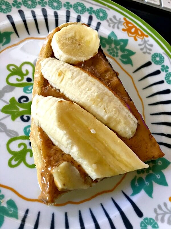 sourdough toast with cashew butter, honey, sea salt and bananas