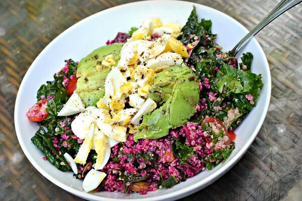 Kale/quinoa/beet salad, avocado, hardboiled egg and Green Goddess dressing.
