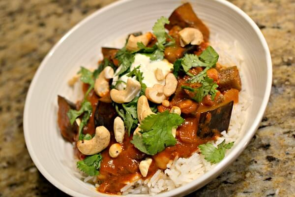 Eggplant, chickpea and okra curry
