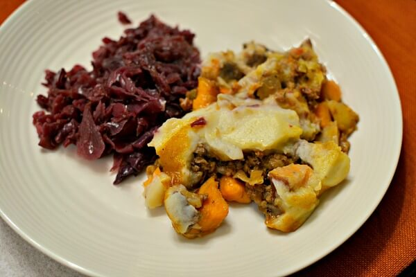 paleo shepherd's pie with braised red cabbage