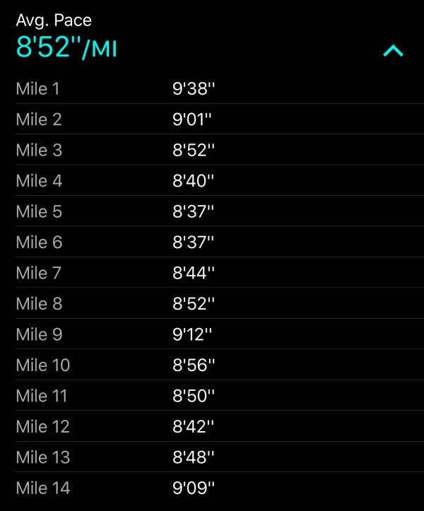 Charlotte Half Marathon Splits