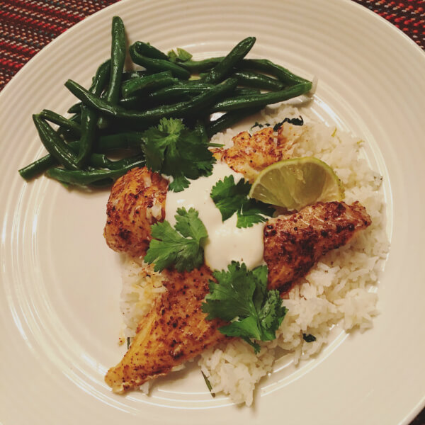 Chili-lime cod over cilantro-lime rice with green beans.