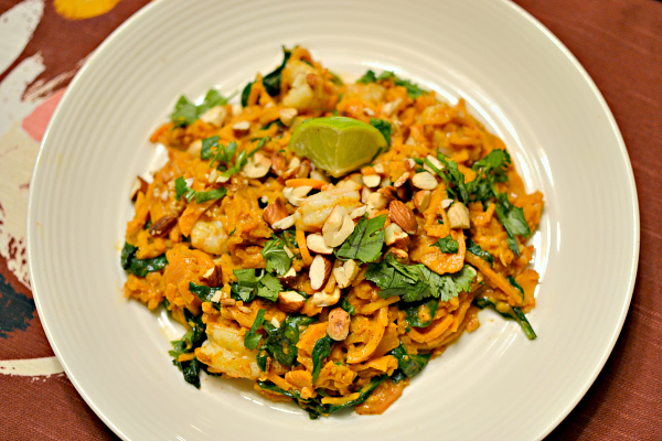 Sweet potato noodles with an almond butter red curry sauce and shrimp.