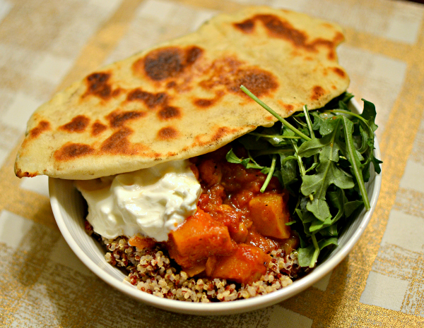 Chickpea and butternut squash stew over quinoa with arugula, plain greek yogurt and homemade naan