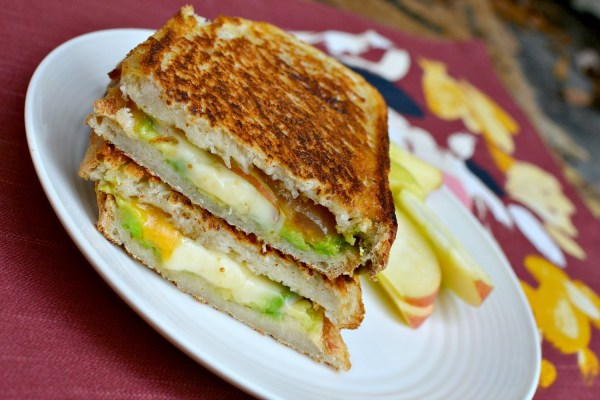 sourdough, butter, fig preserves, avocado, pepper jack, cheddar and thinly sliced apples.